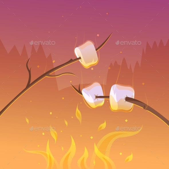Barbecue At Night Background  - Food Objects