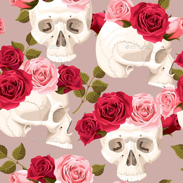 Skulls and Roses Seamless - Flowers & Plants Nature