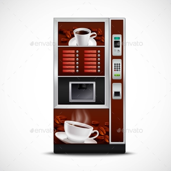 Realistic Coffee Vending Machine  - Technology Conceptual