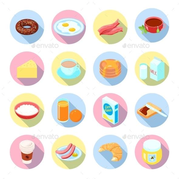 Breakfast Icon Flat Set - Food Objects
