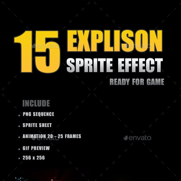 15 Explosion Effect Sprite Sheet for Game
