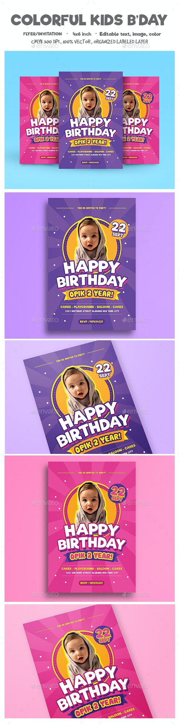 Colorful Kids Birthday Flyer/Invitation - Birthday Greeting Cards