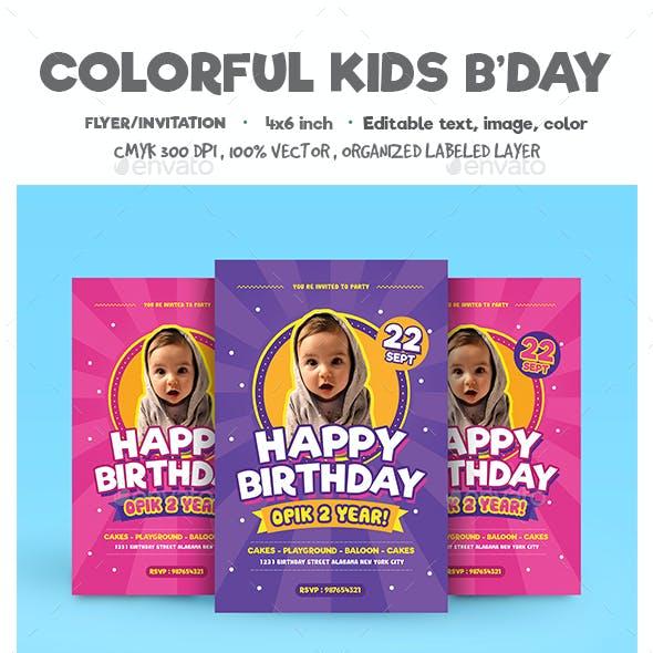 Colorful Kids Birthday Flyer/Invitation
