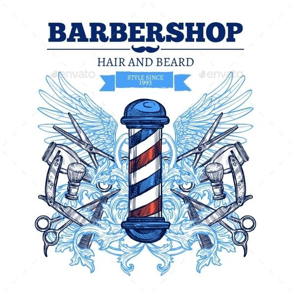 Barber Shop  Advertisement Flat Poster  - Miscellaneous Conceptual