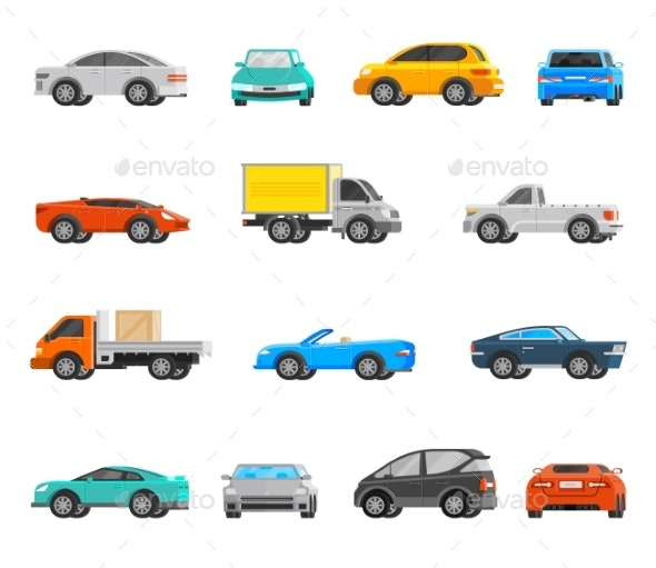 Vehicles Icons Set  - Man-made Objects Objects