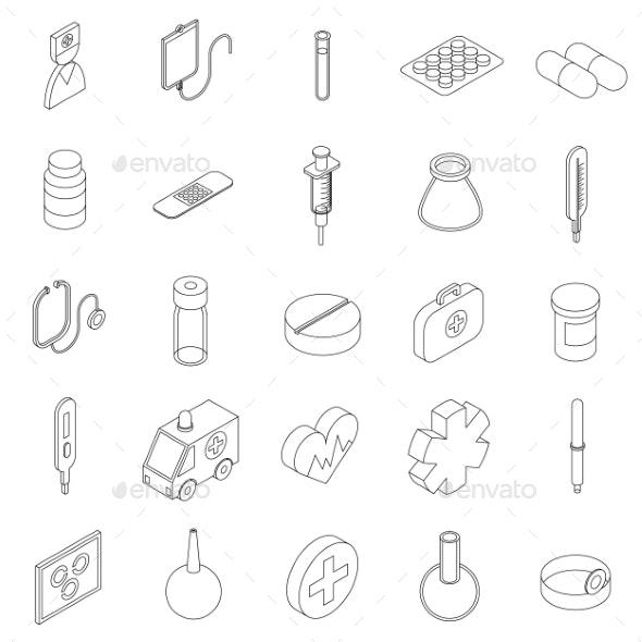 Medicine Equipment Icons Set, Isometric 3d Style - Miscellaneous Icons