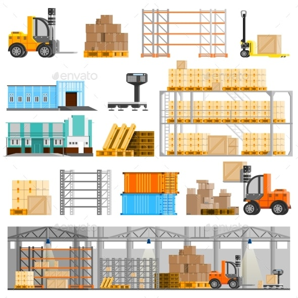 Warehouse Icons Set  - Concepts Business