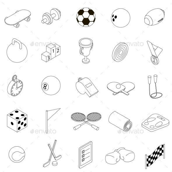 Sport Icons Set, Isometric 3d Style  - Miscellaneous Icons