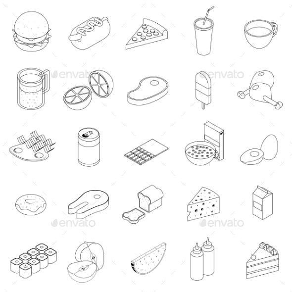 Food Icons Set, Isometric 3d Style