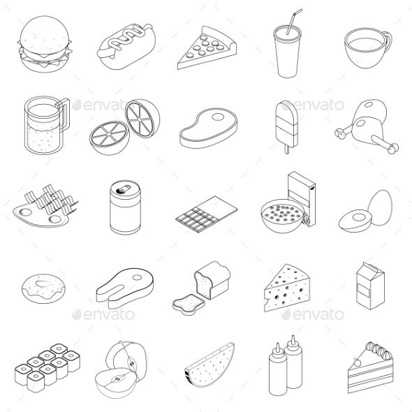 Food Icons Set, Isometric 3d Style  - Miscellaneous Icons