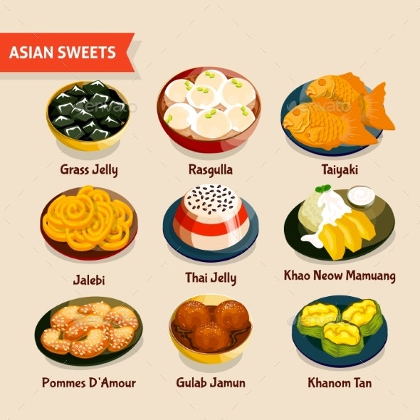Asian Sweets Set - Food Objects