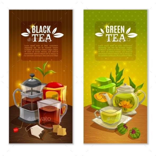 Tea Banners Set - Food Objects