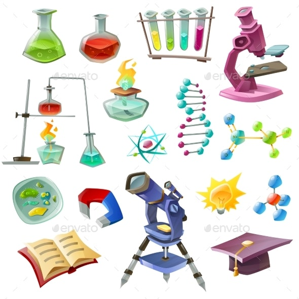 Science Decorative Icons Set - Miscellaneous Conceptual
