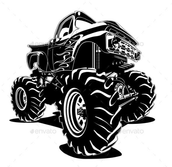 Cartoon Monster Truck - Man-made Objects Objects