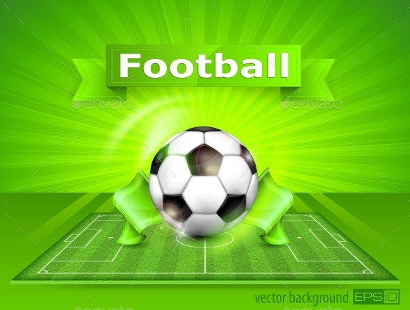 FootBall Soccer Field with Ball and Text - Sports/Activity Conceptual