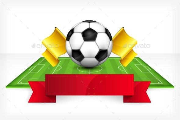 Ball and Green Field on White Background - Sports/Activity Conceptual