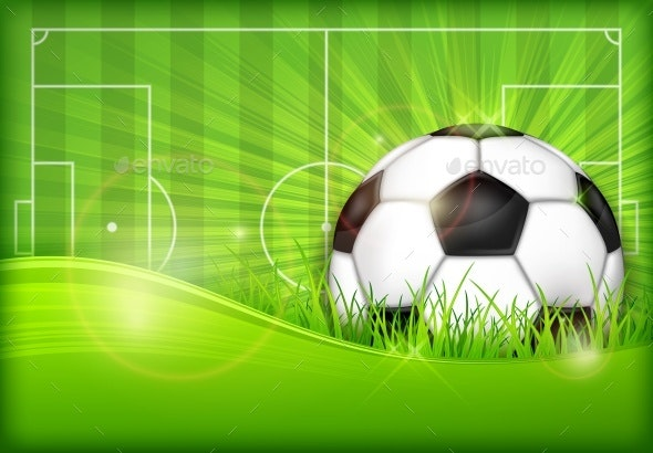 Ball on Green Field Background - Sports/Activity Conceptual