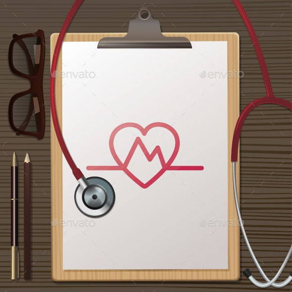 Clipboard and Stethoscope on Table - Health/Medicine Conceptual