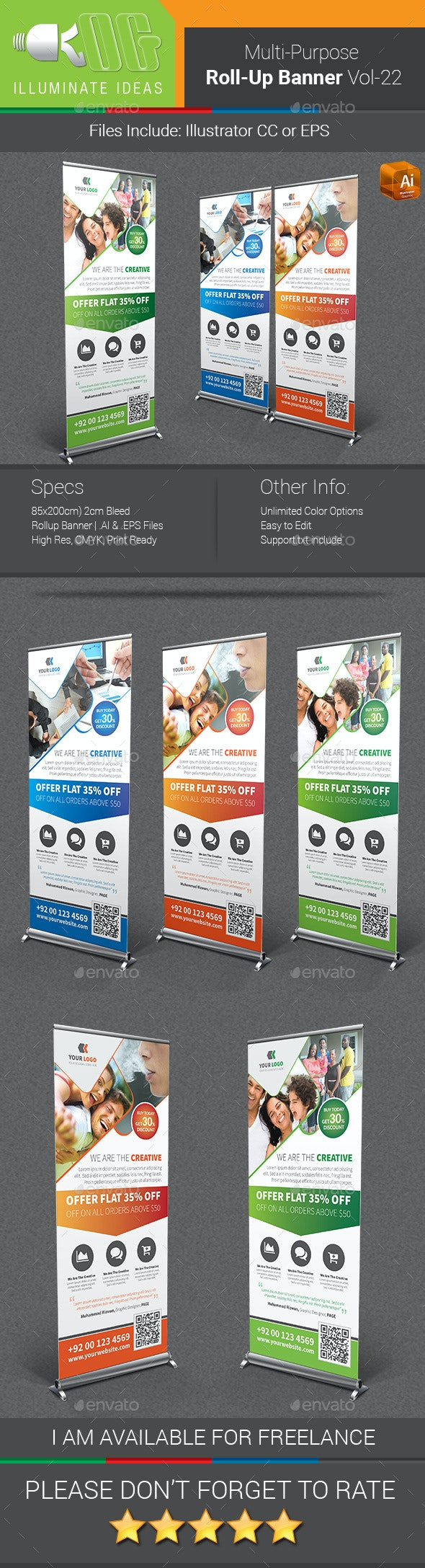 Multipurpose Business Roll-Up Banner Vol-22 - Signage Print Templates