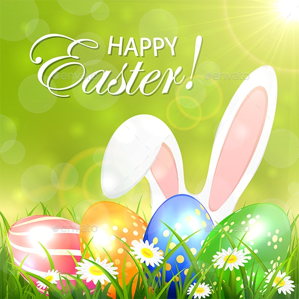Green Background with Colored Easter Eggs and Rabbit - Miscellaneous Seasons/Holidays