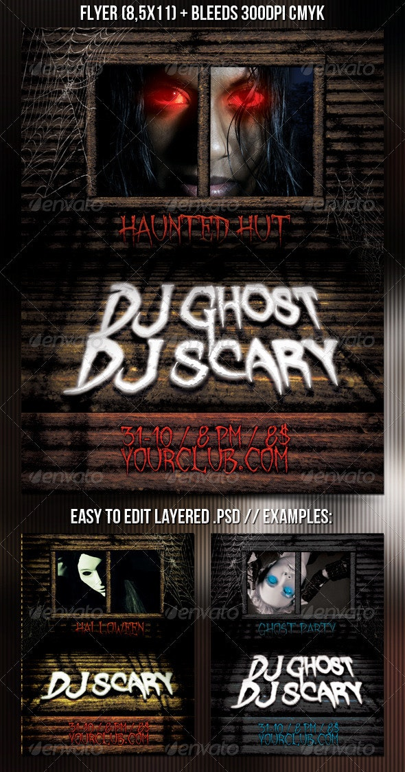 Haunted Hut Flyer - Clubs & Parties Events