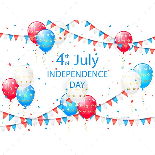 Independence Day Background with Balloons - Miscellaneous Seasons/Holidays