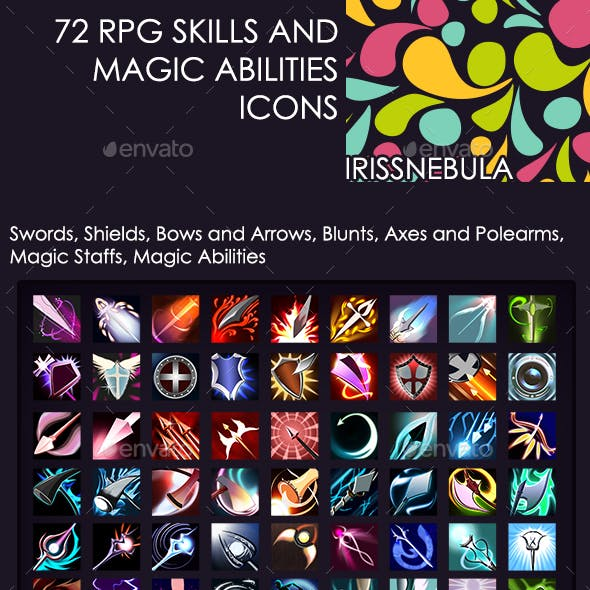 72 RPG Skills and Magic Abilities Icons