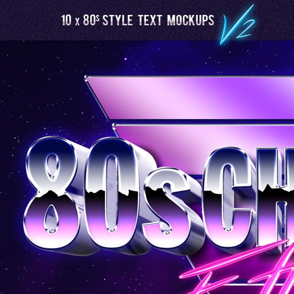 80's Style Text Mockups V2