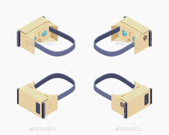 Isometric Cardboard Virtual Reality Headset - Media Technology