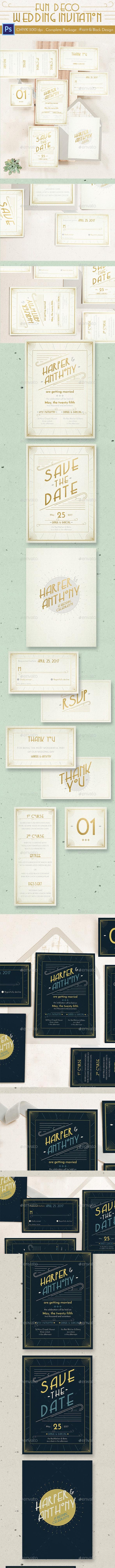 Fun Deco Wedding Invitation - Cards & Invites Print Templates