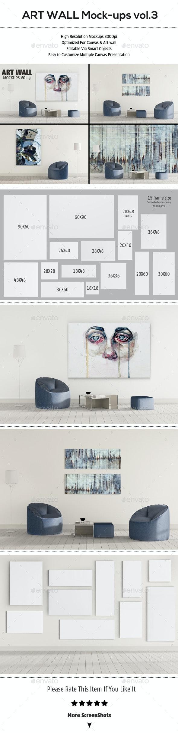 Art Wall Mockup VOL.3 - Product Mock-Ups Graphics