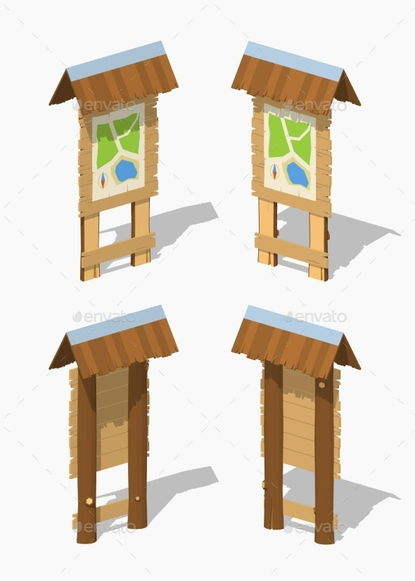 Low Poly Information Stand with Paper Map - Travel Conceptual