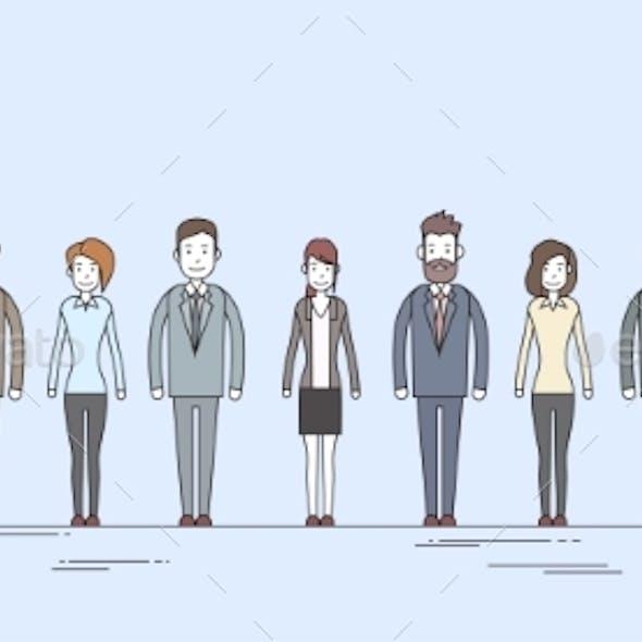 Business People Cartoon Character Set Full Length