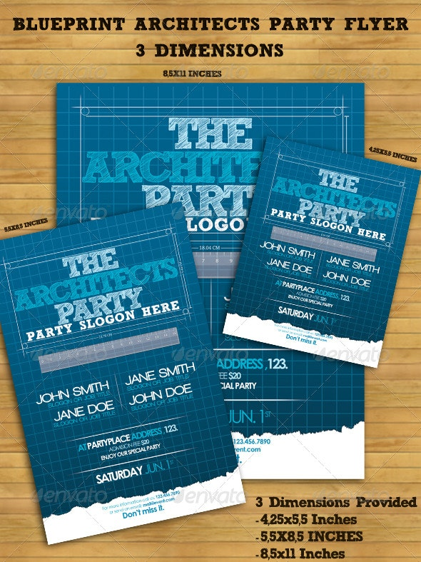 Blueprint Architects' Party Flyer - Clubs & Parties Events