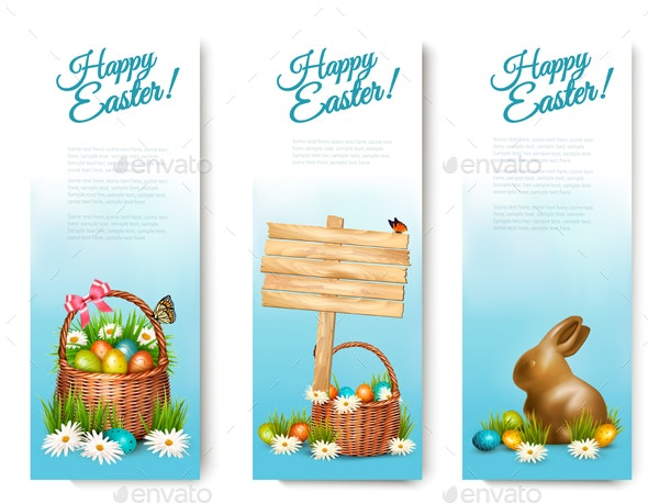 Three Happy Easter Banners with Easter Eggs - Miscellaneous Seasons/Holidays