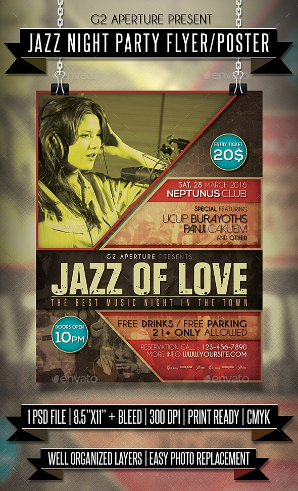 Jazz Night Party Flyer / Poster - Events Flyers
