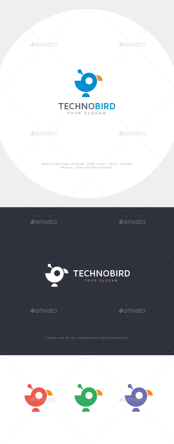 Abstract Techno Bird Logo - Animals Logo Templates