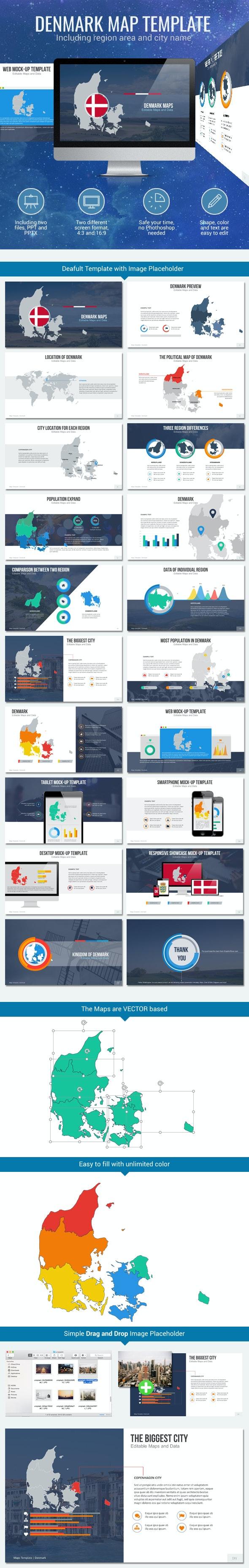 Denmark - Editable Map Presentation - PowerPoint Templates Presentation Templates