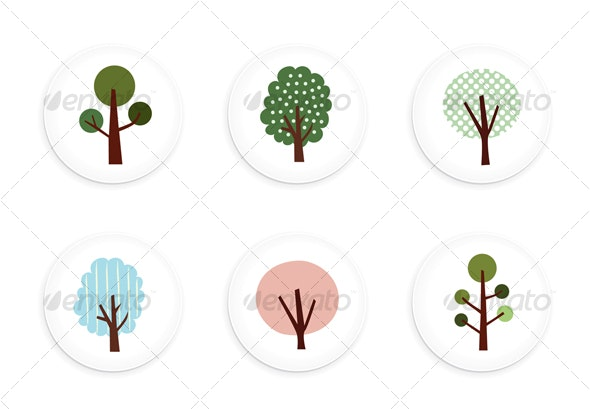 Vector tree buttons - Flowers & Plants Nature
