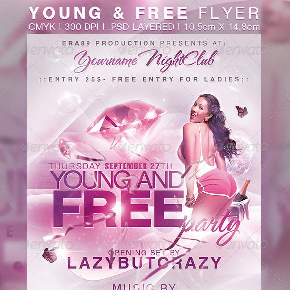Young and Free Party NightClub Flyer