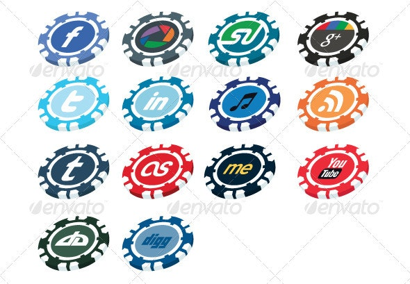 Casino Chip Social Media Button Pack - Web Icons