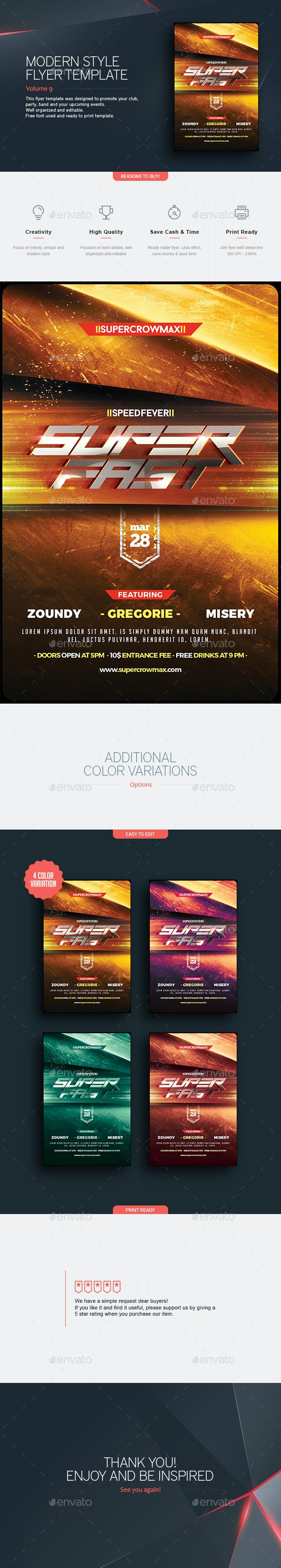 Super Fast - Flyer Template - Clubs & Parties Events