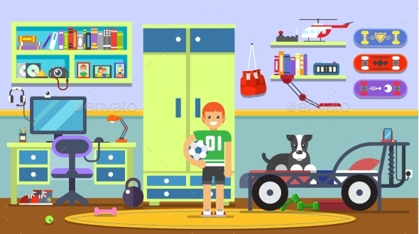 Living Room with Boy - Miscellaneous Vectors