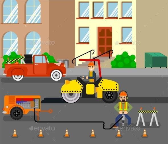 Workers Repairing the Road - People Characters