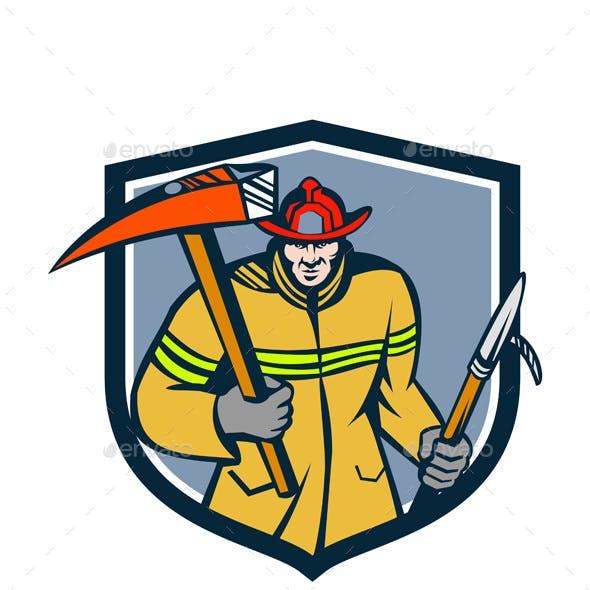 Fireman Firefighter Fire Axe Hook Crest Retro