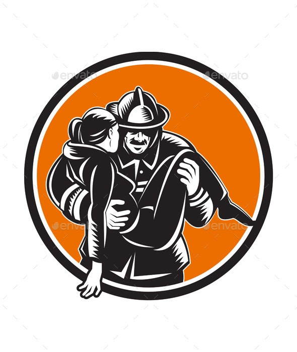 Fireman Firefighter Saving Girl Circle Woodcut - People Characters