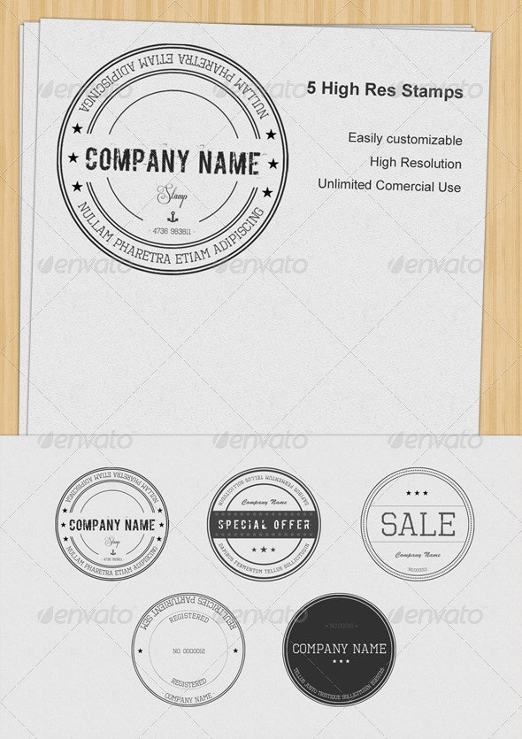 Set of 5 Stamps - Badges & Stickers Web Elements