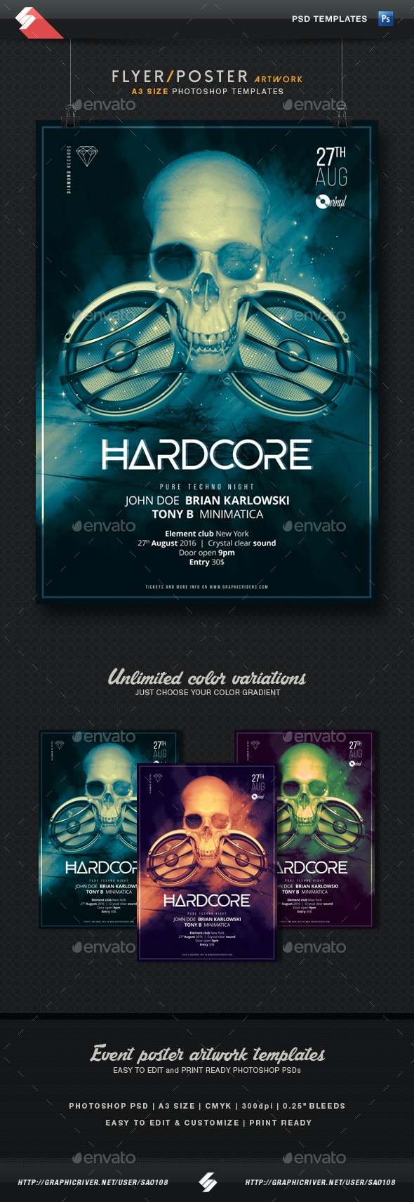 Hardcore - Party Flyer / Poster Template A3 - Clubs & Parties Events