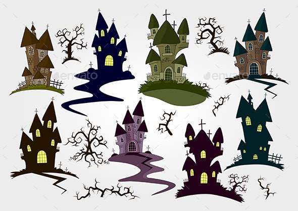Set of Castles and Trees - Halloween Seasons/Holidays