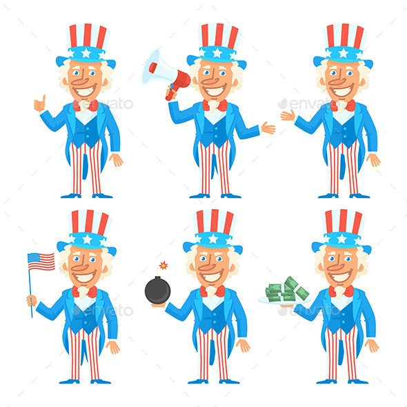 Uncle Sam Character in Different Versions - People Characters